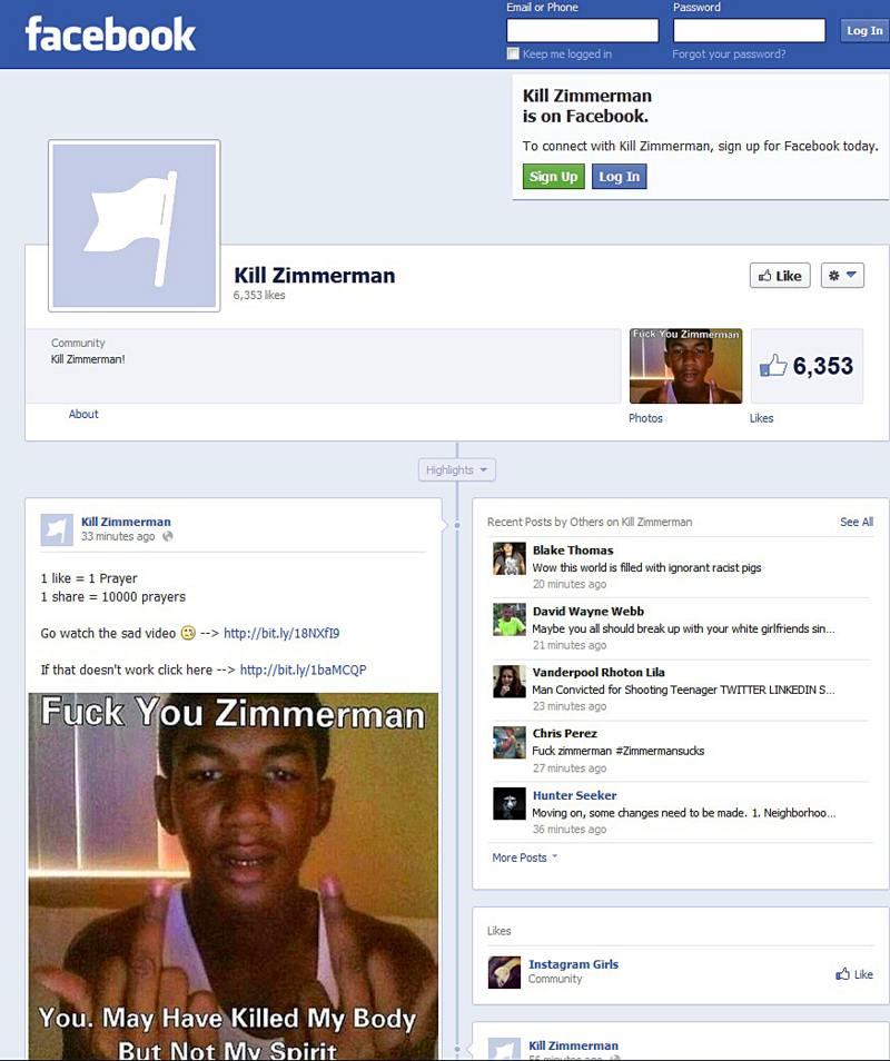 kill zimmerman facebook