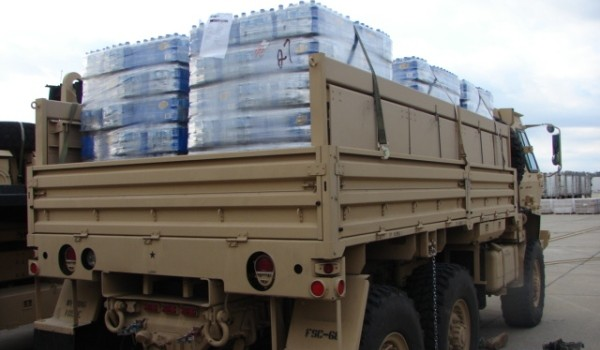 National Guard distrubting water from FEMA
