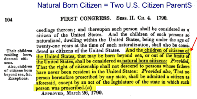 Natural born_1st US Congress