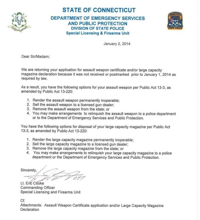 state of ct gun letter