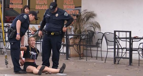 woman jaywalking austin texas