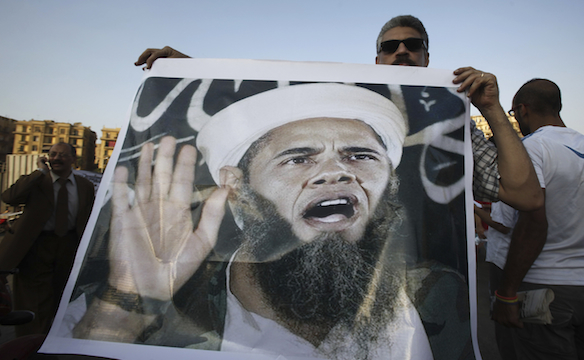 Photo from Egyptian Protests. Interestingly an Egyptian Newspaper says that Barack Obama is a member of the Muslim Brotherhood.