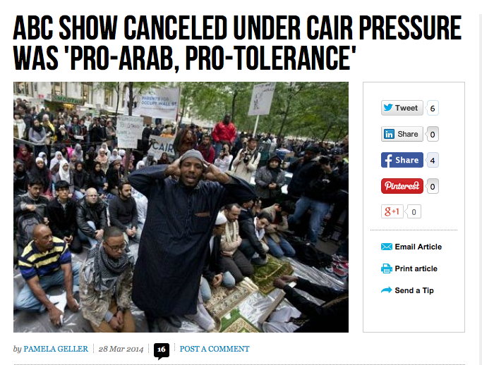 ABC Show Canceled Under CAIR Pressure Was 'Pro-Arab, Pro-Tolerance'