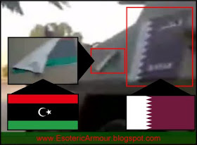 Qatari flag and flag of National Liberation Army (of Libya) on a Ratel 20 (allegedly photographed in Benghazi)