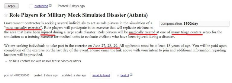 Another false flag? Atlanta Craigslist solicits crisis actors for mock disaster
