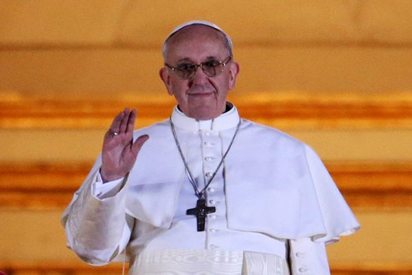 Pope Francis I appears on the central balcony