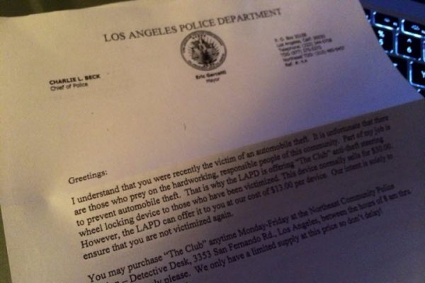 David Bridson letter from LAPD