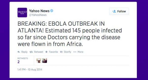yahoo ebola tweet