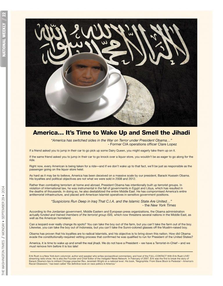 "Washington Times Ad: ""America It's Time to Wake Up and Smell the Jihadi"""