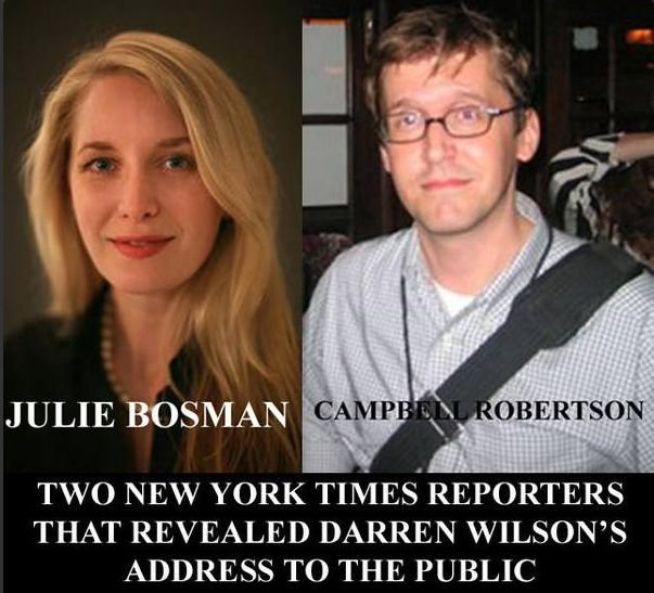 New York Times Reporters who put out Darren Wilson's Address have their Addresses made Public