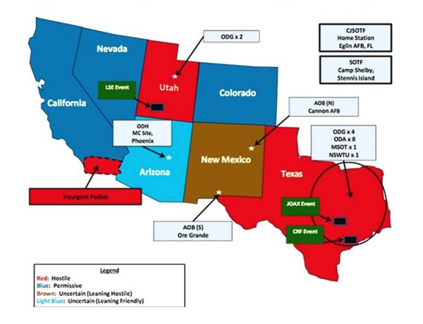 """Jade Helm 15 Color Coded Legend Red Denotes a """"hostile state"""" Brown is uncertain, leaning towards hostile. Dark Blue is """"Permissive"""" meaning supportive of the government. Light Blue is """"Uncertain, leaning friendly""""."""