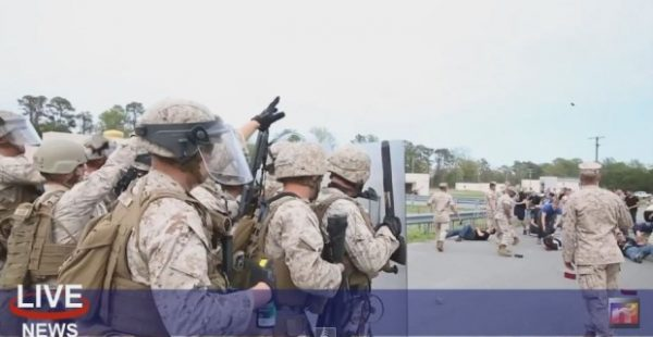 MARINES CONDUCT RIOT CONTROL DRILL