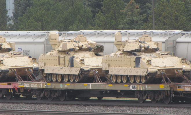 Photos: Massive 1/4 mile long military train loaded with vehicles seen near Colorado Wyoming border