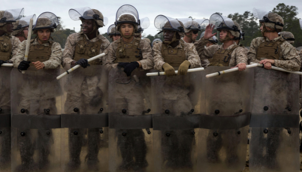 Military trains for domestic riot control – Photo Credit: marines.mil