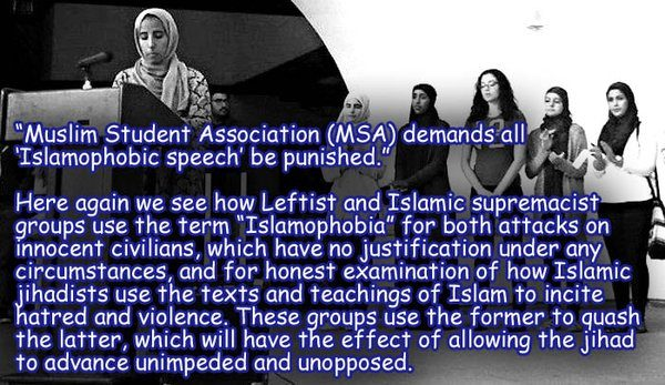 """SAN DIEGO STATE UNIVERSITY Muslim Brotherhood Front Group 'Muslim Student Association' Demands """"Total Ban on Speech Critical of Islam"""" at the University"""