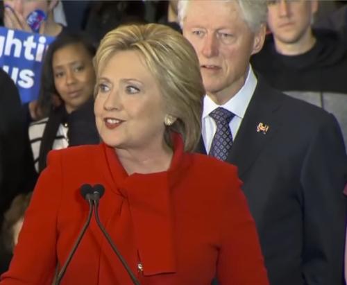 A frail Bill Clinton, 69, behind a manic-looking Hillary on Iowa Caucus night, Feb. 1, 2016
