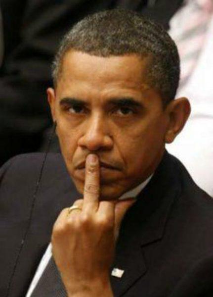 obama flip off