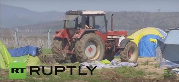 Greek Farmer Sick Of Muslim Refugees Illegally Squatting On His Land Gets Out His Tractor And Plows Over Their Tents