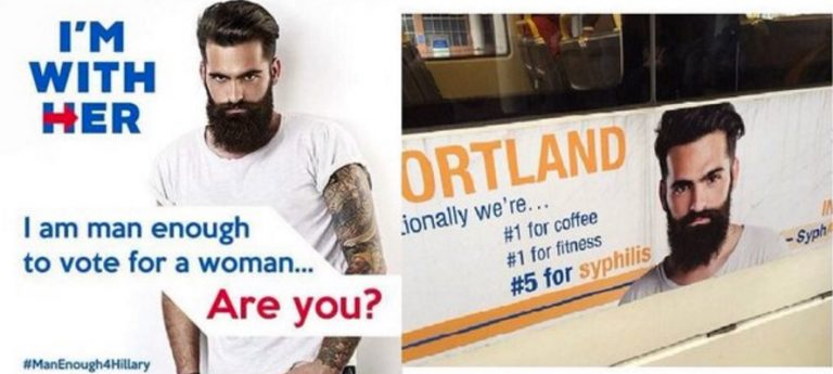 """I'm With Her"": Clueless Hillary Supporters Just Chose Bearded Hipster from Syphilis Ads as Their New Pitchman"