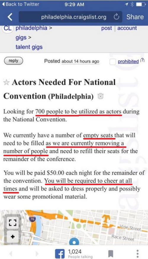 DNC advertises on CraigsList for 700 actors to fill empty Convention seats