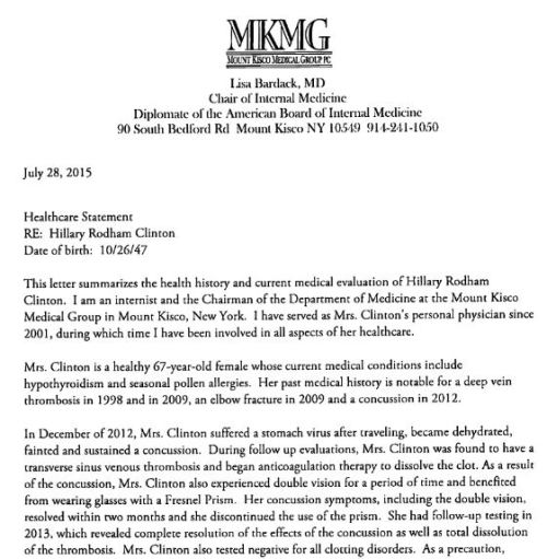 Hillary Clinton refuses to release her up-to-date detailed medical records