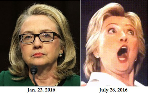 Hillary Clinton's teeth, tongue-hole & now-you-see-it-now-you-don't wrinkles