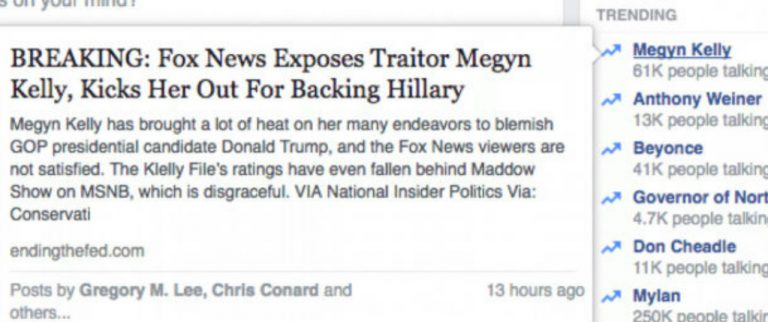 Facebook Fires Human Editors and Lets Algorithm Take Over; Immediately Posts Completely Fake News Stories