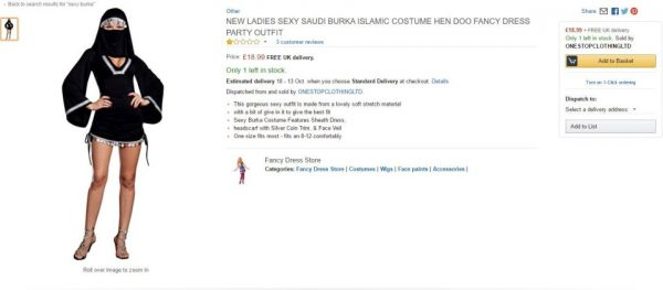 Online retail giant Amazon have sparked controversy in the run up to Hallowe¿en ¿ by selling Islamaphobic costumes modelled by ¿browned¿ up men. See National News story NNCOSTUME; Men hoping to dress up as an ¿Arab¿ can buy a tunic and headdress set from just a tenner, and can even complete the outfit with a ¿Palestine¿ scarf. Shoppers browsing the items have branded the online store, who stock a ¿sexy burka¿ female equivalent outfit, as ¿disgusting racists¿. One user left a one-star rating and wrote: ¿You're all disgusting racists. My culture is not your costume.¿