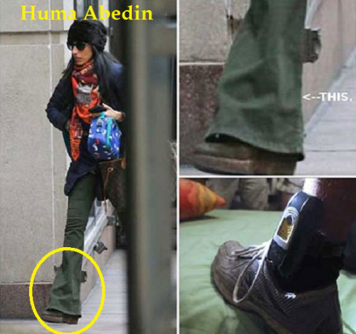 Is Huma Abedin wearing an ankle monitor?