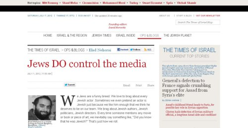 Times of Israel admits Jews do control the media