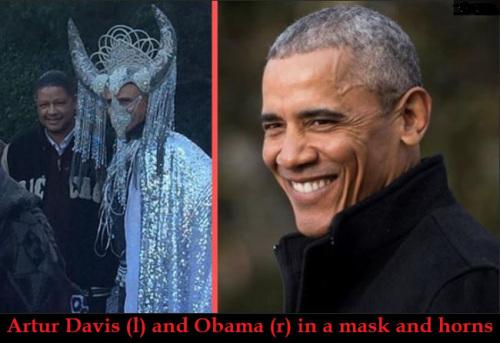 Obama dressed as Baphomet?