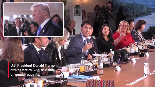 """Trump Disrupts Trudeau's G7 """"Women's Empowerment Session"""" by Showing Up Late"""
