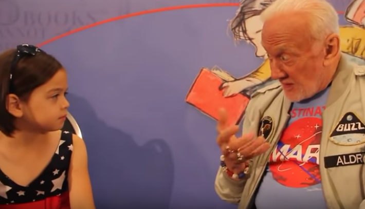 """Buzz Aldrin tells 8-year-old girl: """"We didn't go"""" to the moon"""