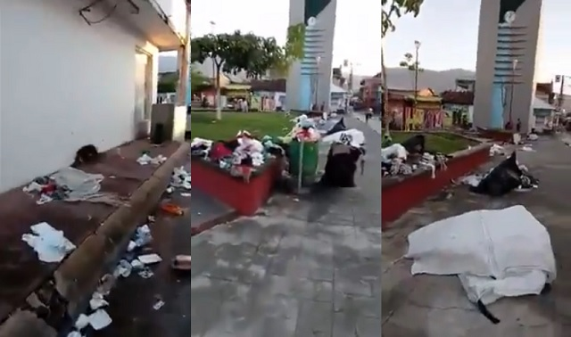 Mexican Woman Laments Trash-Covered Streets After Migrant Caravan Passes Through