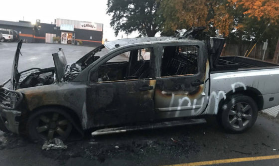 Truck Set On FIRE Because of Pro-Trump Stickers