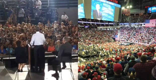 Photographic Proof: Numbers at Trump Rally Dwarf Those at Obama Event