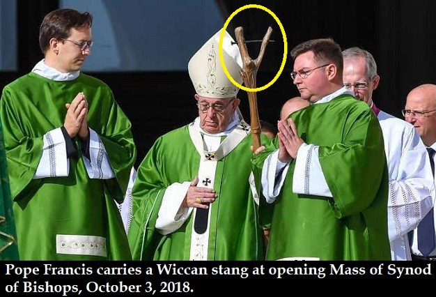 The Apostasy of Pope Francis: Wiccan stang and an LGBT rainbow cross