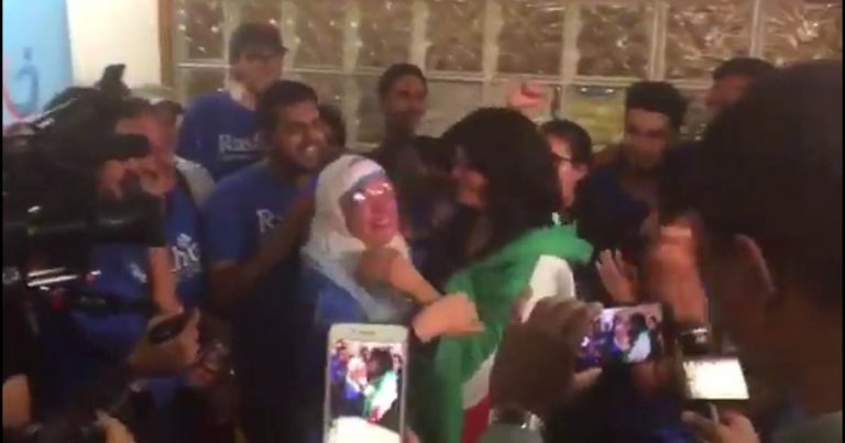 Death To America! Newly Elected Muslim Rashida Tlaib Celebrated Victory Draped In Palestinian Flag