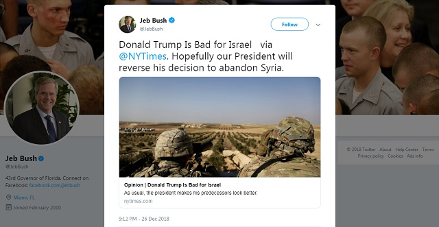 Jeb Bush On Syria: 'Donald Trump Is Bad For Israel… Hopefully Our President Will Reverse His Decision'