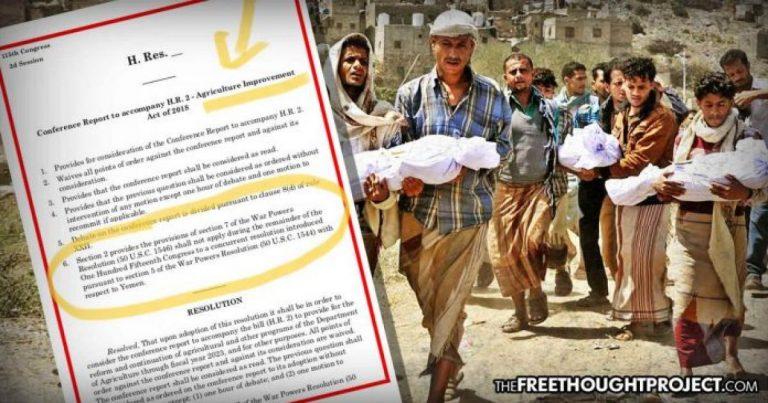 Congress Hid Illegal Legislation in Farm Bill to Further Support Horrific Genocide in Yemen