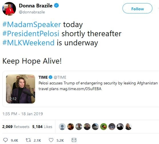 "Donna Brazile's cryptic ""President Pelosi"" tweet and rumors of plot to assassinate Trump"