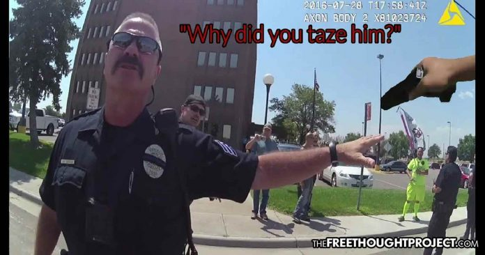 WATCH: Good Cop Honors Oath to Constitution, Stops Bad Cop Who's Tasing a Man for His Free Speech