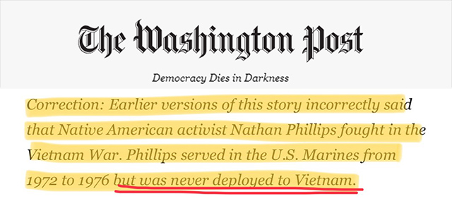 Native American Nathan Phillips Never Fought In Vietnam, Was Not A 'Vietnam Veteran,' WashPo Admits