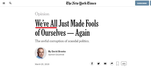 NY Times Tries to Shift Blame On to 'All' Of Us For RussiaGate Hoax