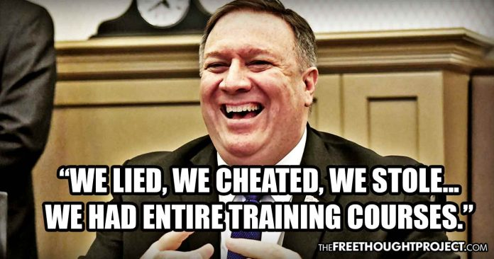 "Media Blackout — Mike Pompeo on Video: ""I was the CIA director. We lied, we cheated, we stole."""