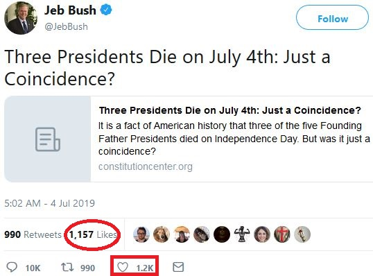 On July 4, Jeb Bush tweets veiled threat at President Trump