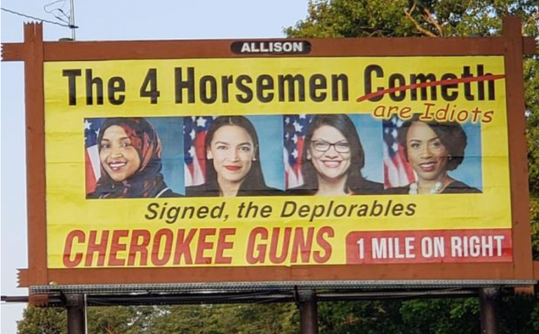 Controversial gun store billboard replaced, FBI & Secret Service now involved
