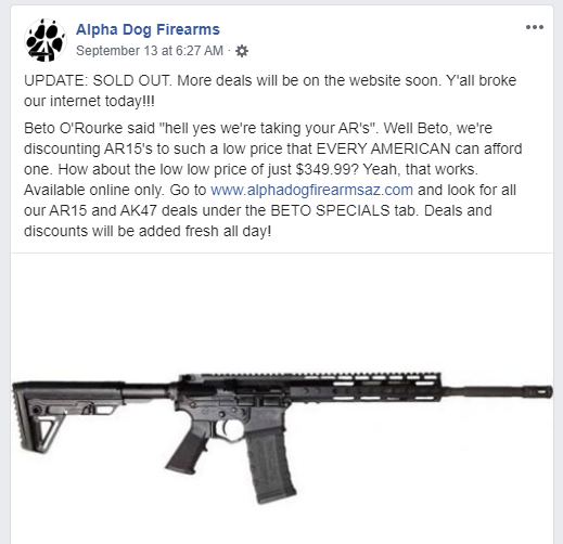 Arizona Gun Store Sells Out of AR-15's After Offering 'Beto Special'