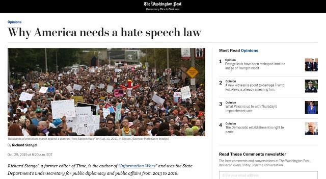 Washington Post: 'Why America Needs A Hate Speech Law'