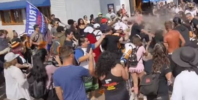 Man In MAGA Hat Sprays Anti-Trump Protesters With Bear Repellent